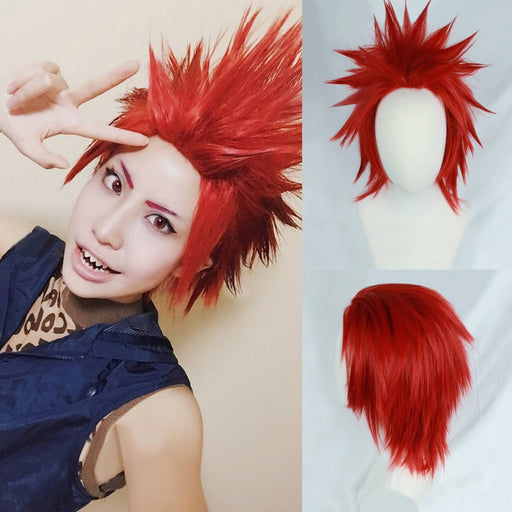 My Boku no Hero Academia Eijirou Kirishima Eijiro Short Red Heat Resistant Cosplay Costume Wig