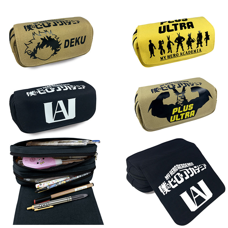 My Hero Academia Pencil Case Cosplay Prop Canvas Zipper Large Capacity Stationery Bag Stationery Box Package