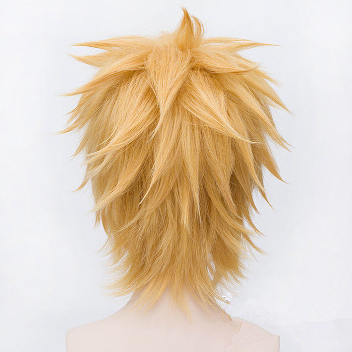Uzumaki Naruto Golden Short Wig Fluffy Shaggy Layered Heat Resistant Synthetic Hair Cosplay Costume Wig + Wig Cap