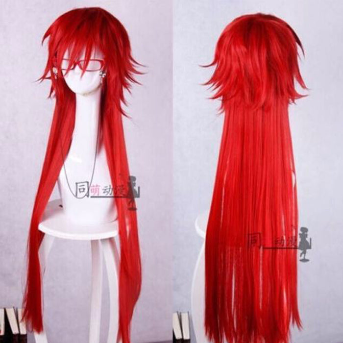 New Arrival Fashion Styled Black Butler Grell Sutcliff Long Straight Wig Red Cosplay + Red Glasses+ Wig Cap