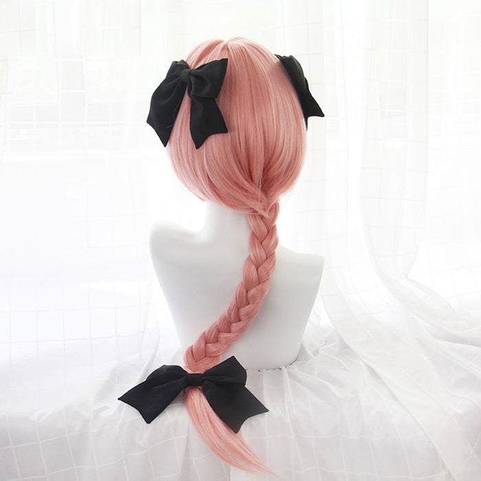 75cm Game Fate Apocryph Astolfo Cosplay Long Wigs Pink Pigtail Synthetic Hair Perucas Cosplay