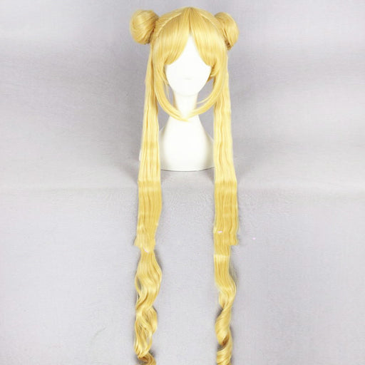 Tsukino Usagi Sailor Moon 90cm Long Blonde New Synthetic Hair Perucas Cosplay Wig + Wig Cap