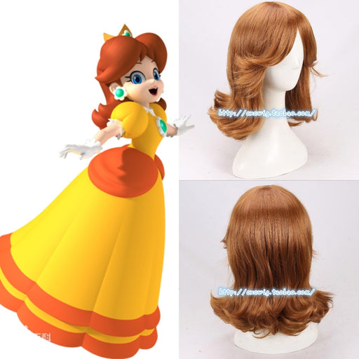 Super Mario Princess Daisy Medium Curly Wig Brown