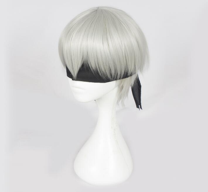 NieR:Automata 9S YoRHa No. 9 Short Straight Wig Silver with Black Eye Patch