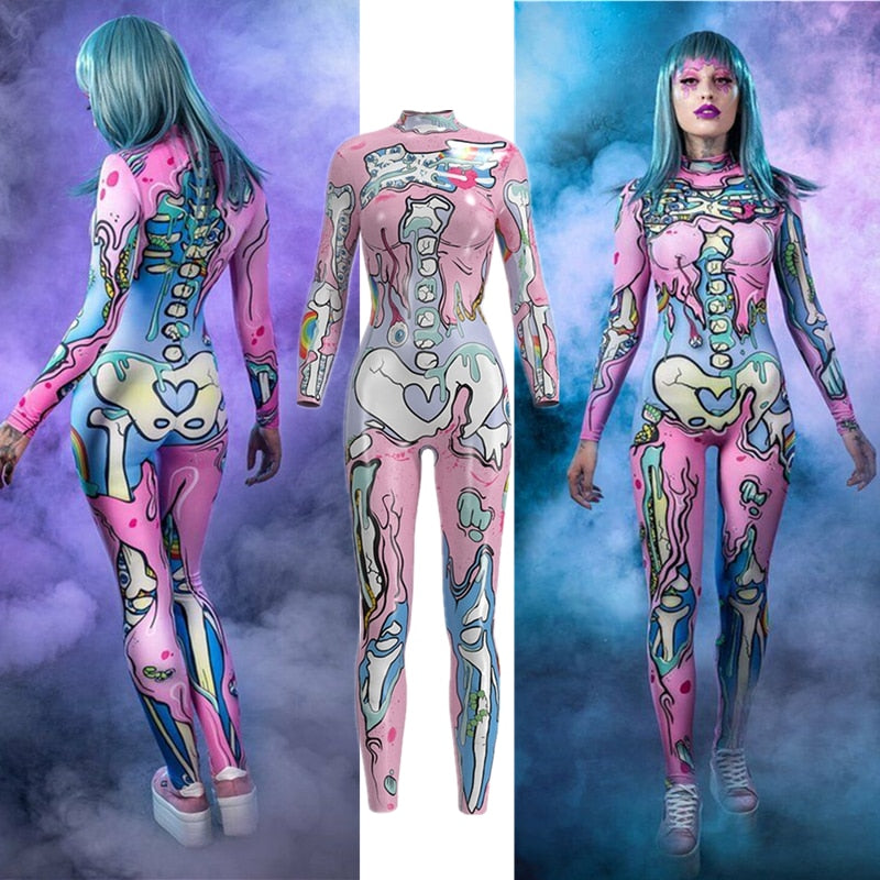 Pink Doodle Skull Skeleton Catsuit Costumes