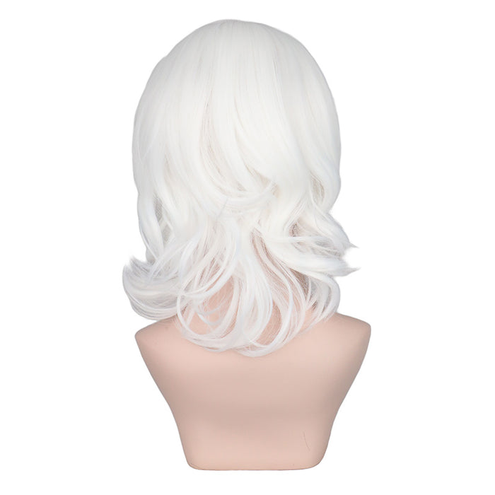 Girls Short Curly Wig Cosplay Cos White Synthetic Hair Wigs