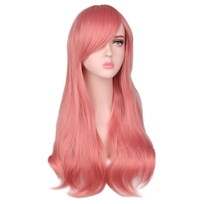 Long Curly Cosplay Wig For Men Women Pink Hair Synthetic Hair Wigs