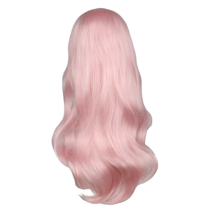 Long Curly Wig Women Cosplay Light Pink Synthetic Hair Wigs
