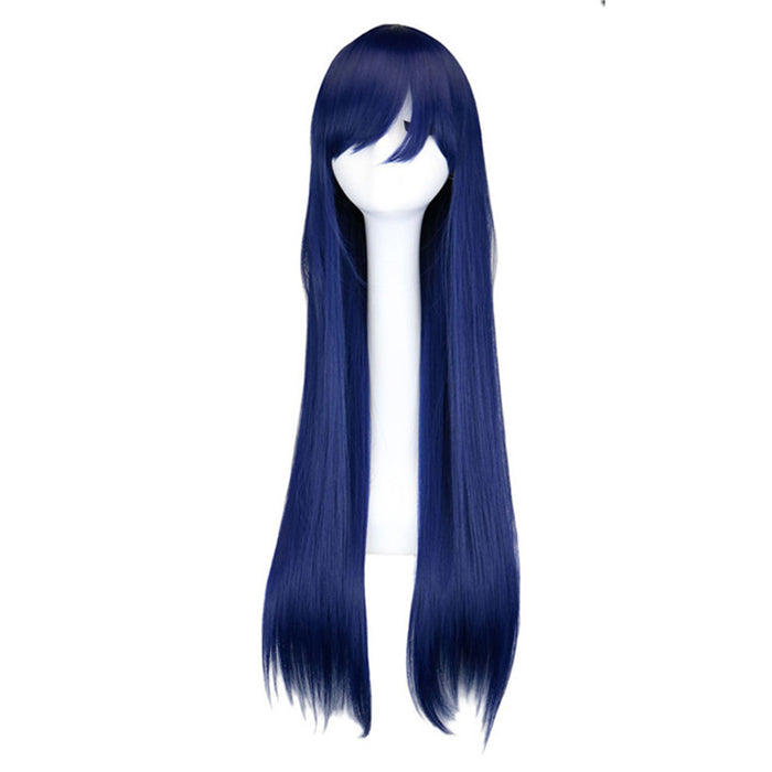 80 Cm Long Straight Wig Cosplay Navy Mixed Blue Synthetic Hair Wigs