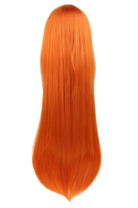 80 Cm Long Straight Cosplay Orange Synthetic Hair Wigs