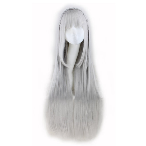 100cm Long Straight Cosplay Sliver Gray Synthetic Hair Wigs