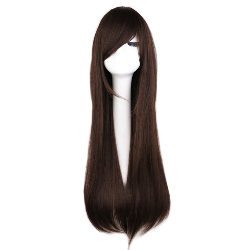 80 Cm Long Straight Cosplay Wig Women Men Costume Dark Brown Synthetic Hair Wigs