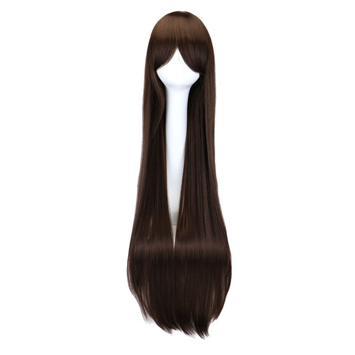 "100cm 40"" Long Straight Costume Cosplay Dark Brown Synthetic Hair Wigs"