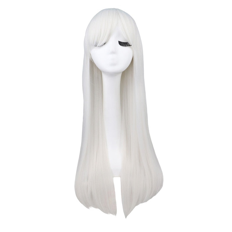 80 Cm Long Straight Cosplay White Synthetic Hair Wigs