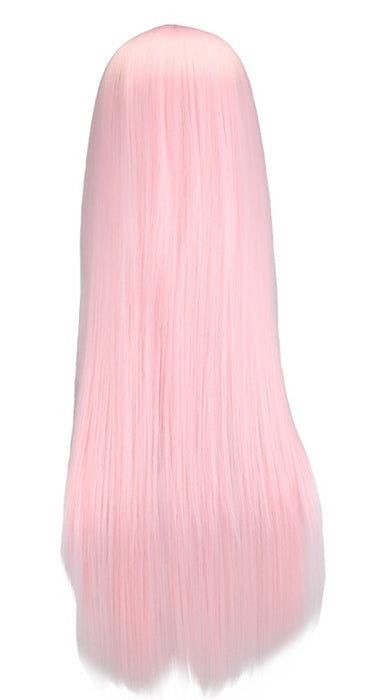 70 Cm Long Straight Wig Women Cosplay Light Pink Synthetic Hair Wigs