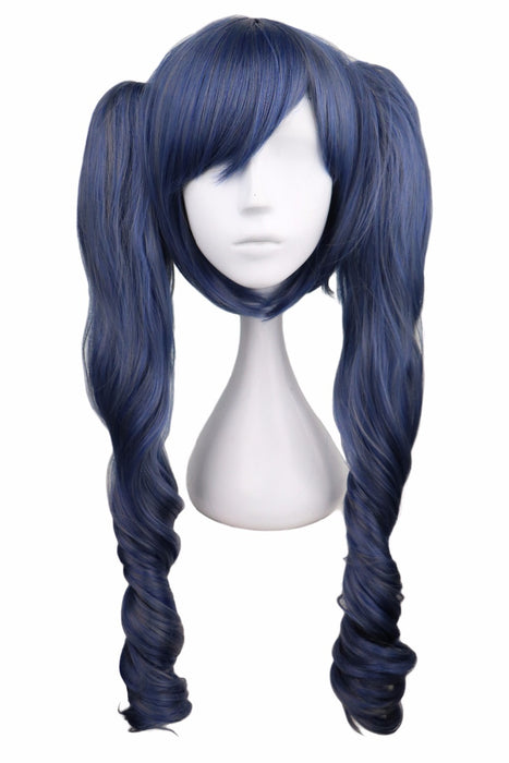 70 Cm Long Wavy Cosplay Black Butler Mixed Blue Gray Grey Synthetic Hair Wigs