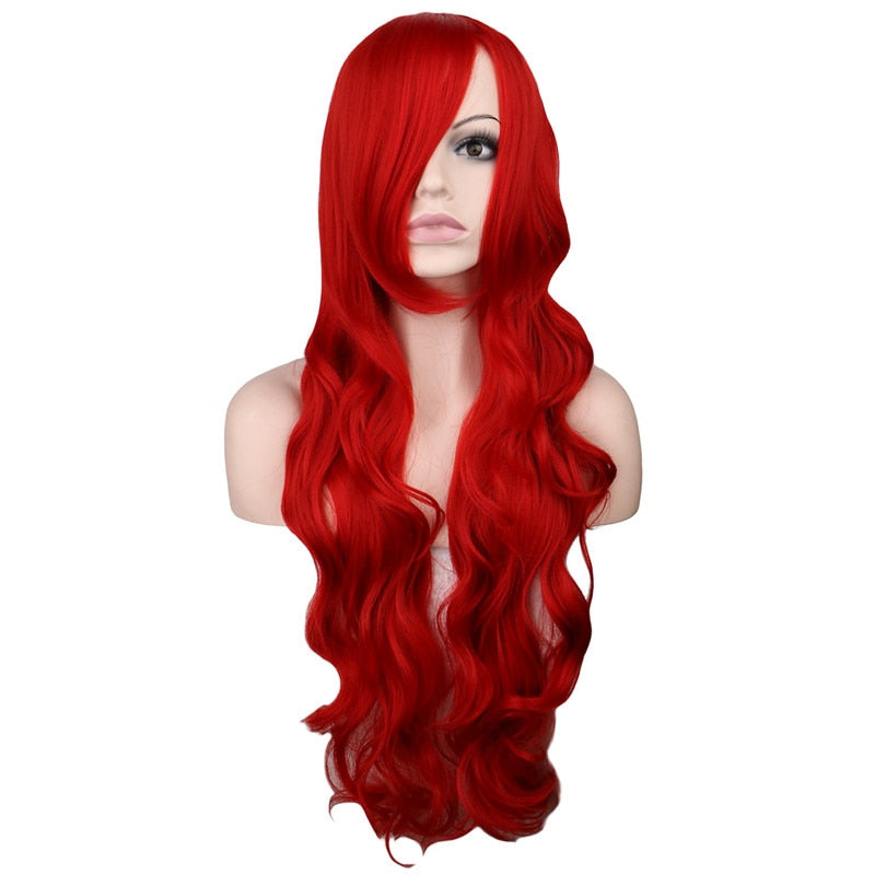 80 Cm Long Wavy Wig Cosplay Dark Red Synthetic Hair Wigs