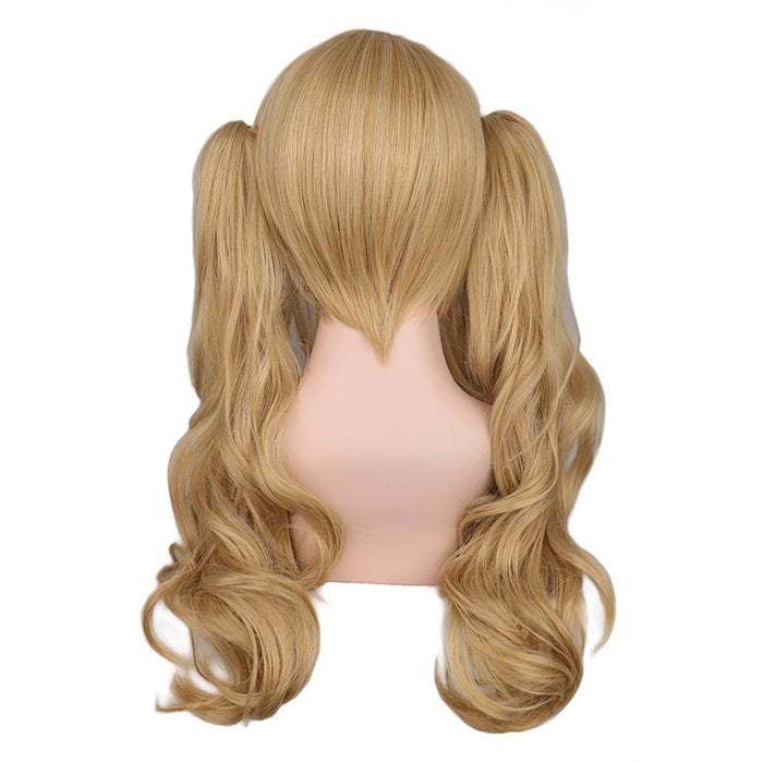 50 Cm Long Wavy Cosplay Mixed Blonde With 2 Ponytails Synthetic Hair Wigs