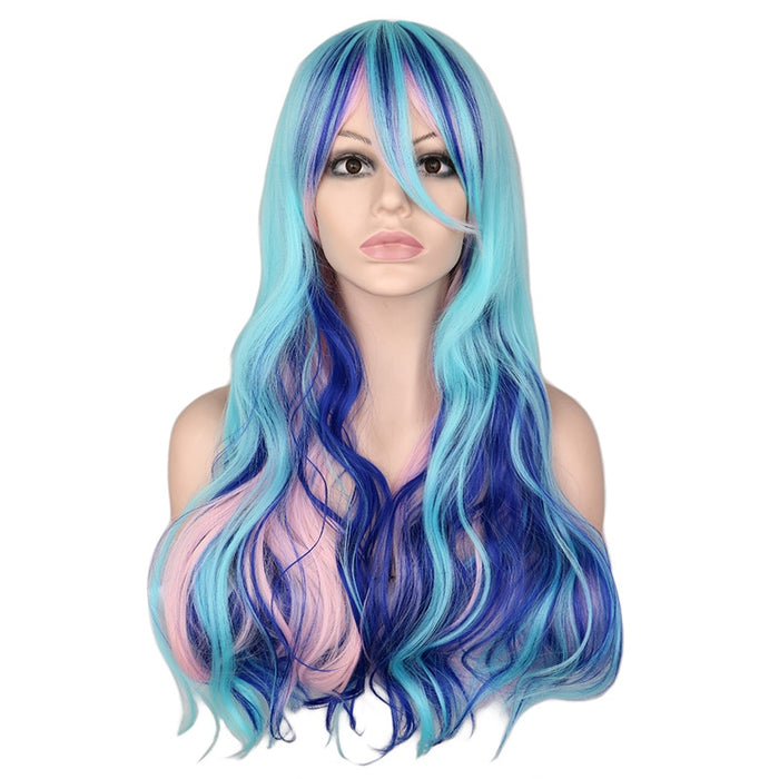 Long Wavy Cosplay Costume Mixed Blue Pink Purple Synthetic Hair Wigs