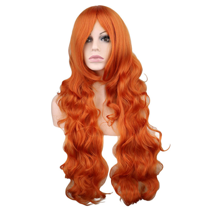80 Cm Long Wavy Wig Cosplay Orange Synthetic Hair Wigs