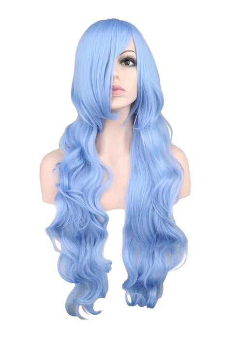 80 Cm Long Wavy Cosplay Wig Women Men Light Blue Synthetic Hair Wigs