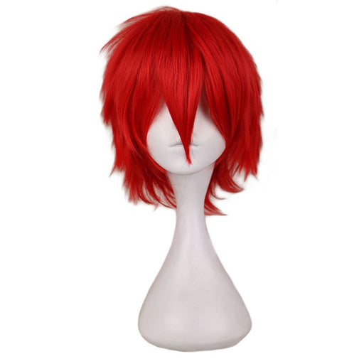 30 Cm Male Short Costume Cosplay Wig Red  Synthetic Hair Full Wigs