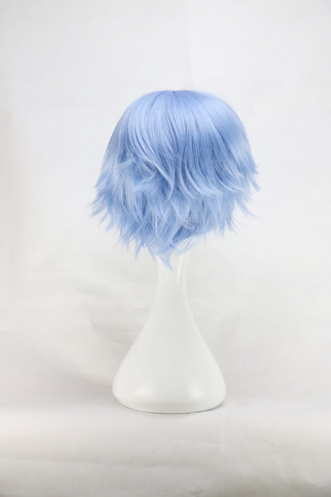 32 Cm Men Male Short Straight Japanese Costume Cosplay Boys Light Blue Synthetic Hair Wigs
