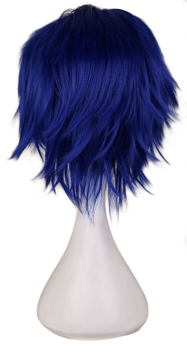30 Cm Men Short Costume Cosplay Wig Boys Dark Blue Synthetic Hair Full Wigs