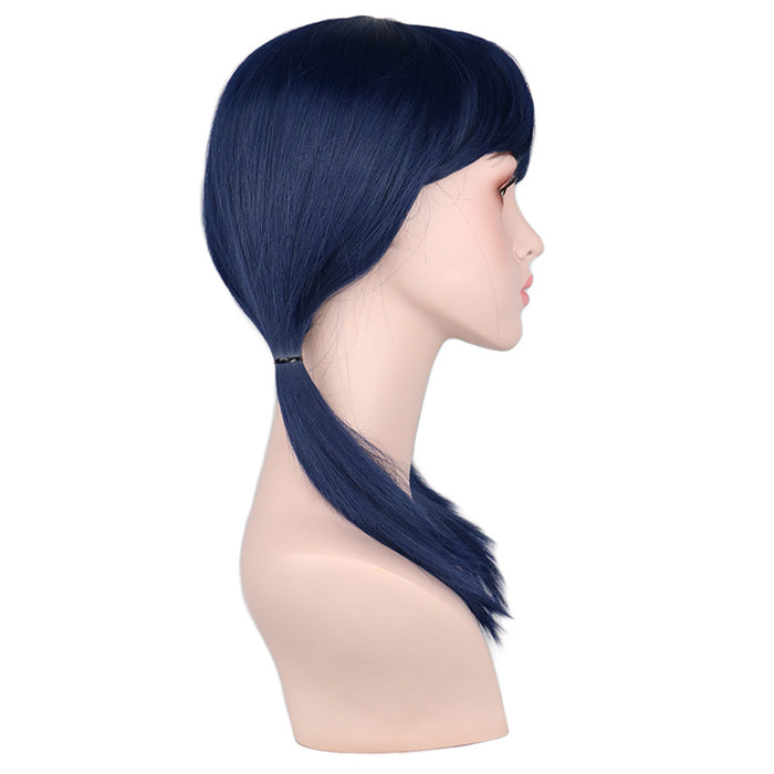 Navy Blue Medium Wig Dark Blue Cosplay Two Ponytails Costume Synthetic Hair Wigs