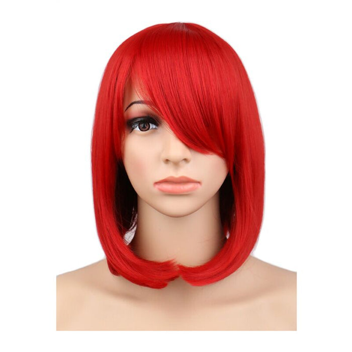 40 Cm Medium Bob Straight Cosplay Wig Costume Red Synthetic Hair Wigs