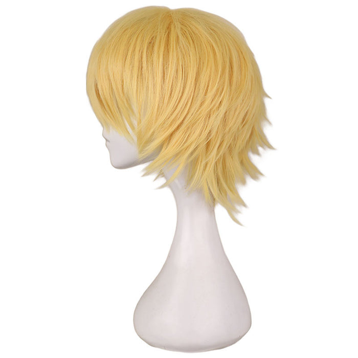 30 Cm Short Men Cosplay Gold Yellow Full Wig Synthetic Hair Wigs