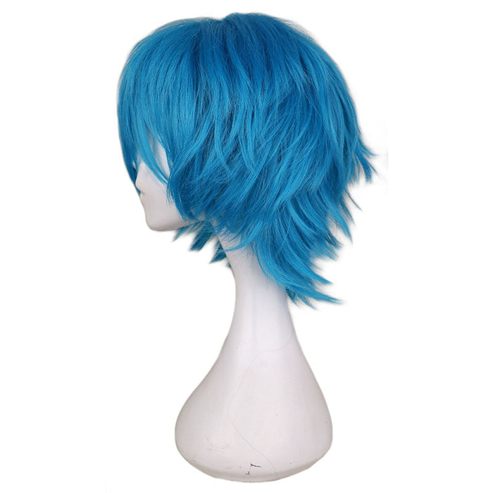 Short Straight Wig Blue Men Cosplay Synthetic Hair Wigs