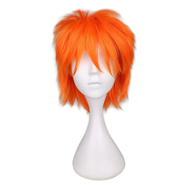 Short Men Layered Full Wig Cosplay Light Orange Synthetic Hair Wigs