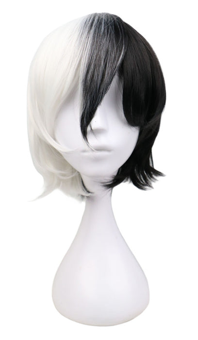 32 Cm Short Straight Cosplay Half Black Half White Synthetic Hair Wigs