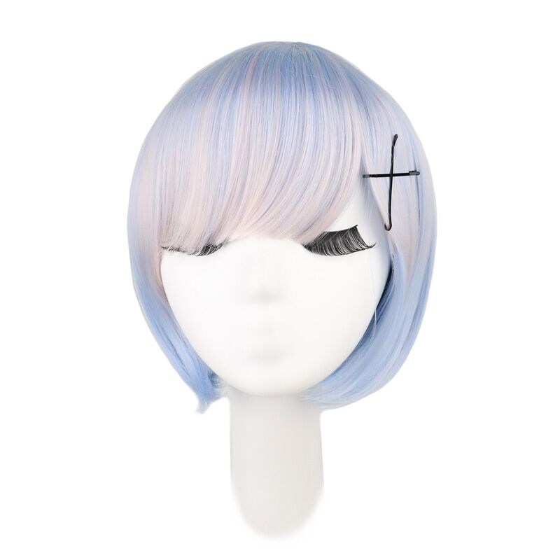 Short Straight Cosplay Rem/Ram Pink and Blue Synthetic Hair Wigs