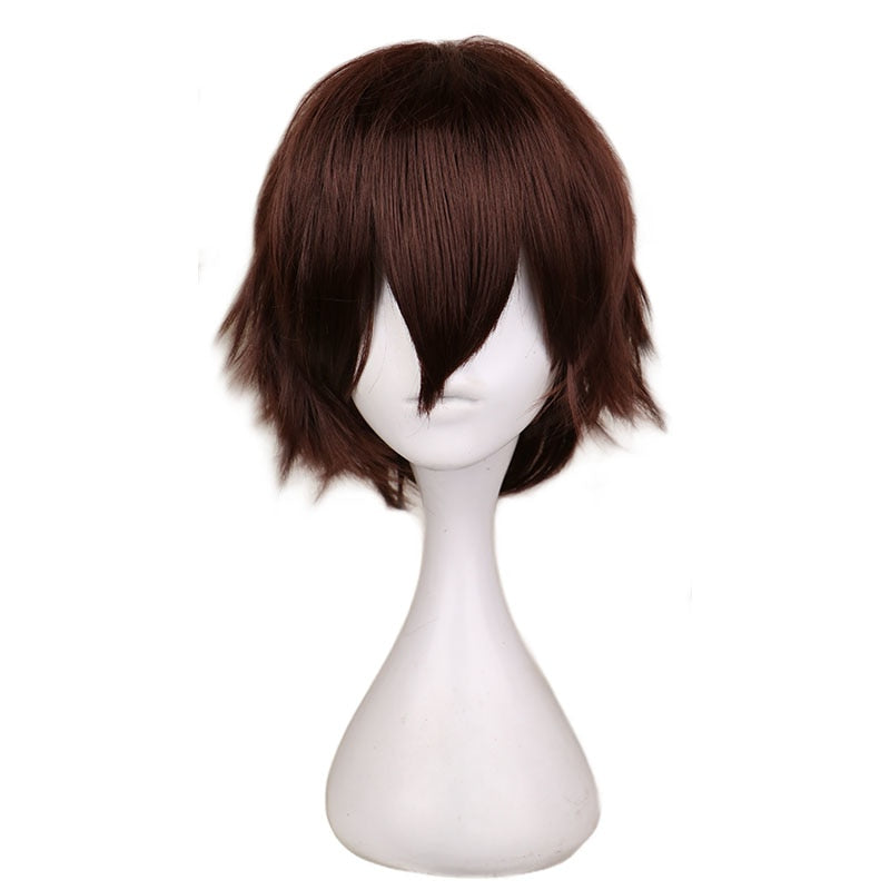 Short Straight Cosplay Wig Men Dark Brown Synthetic Hair Wigs