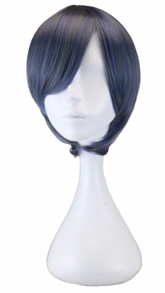 32 Cm Short Straight Men Cosplay Blue Gray Synthetic Hair Wigs