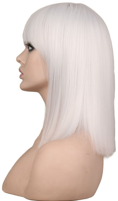 40 Cm Medium Straight White Wig Neat Bang Bob Style Women Girls Cosplay Costume Synthetic Hair Wigs