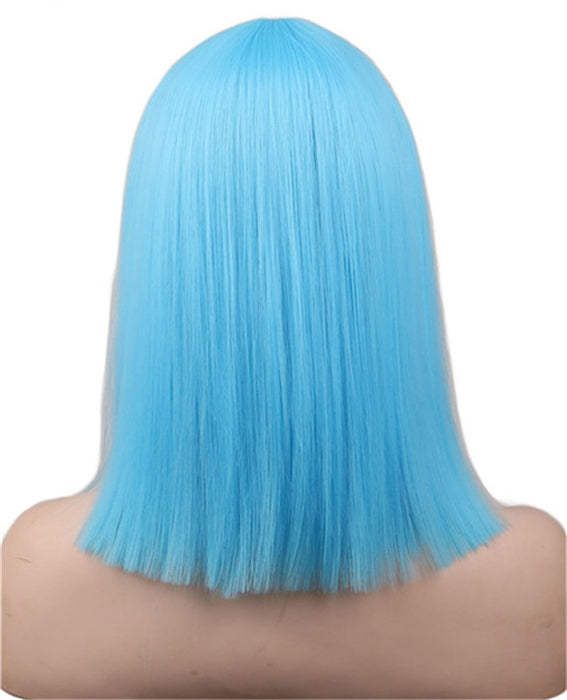 40 Cm Medium Straight Wig Light Blue Neat Bang Bob Style Women Girls Cosplay Costume Synthetic Hair Wigs