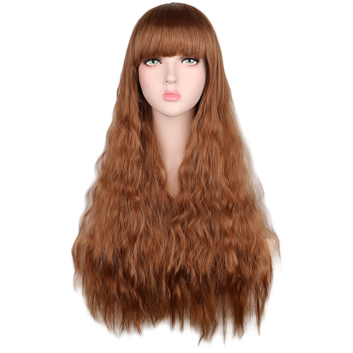 "26"" Women Long Curly Cosplay Wig with Bangs Synthetic Hair Wigs"