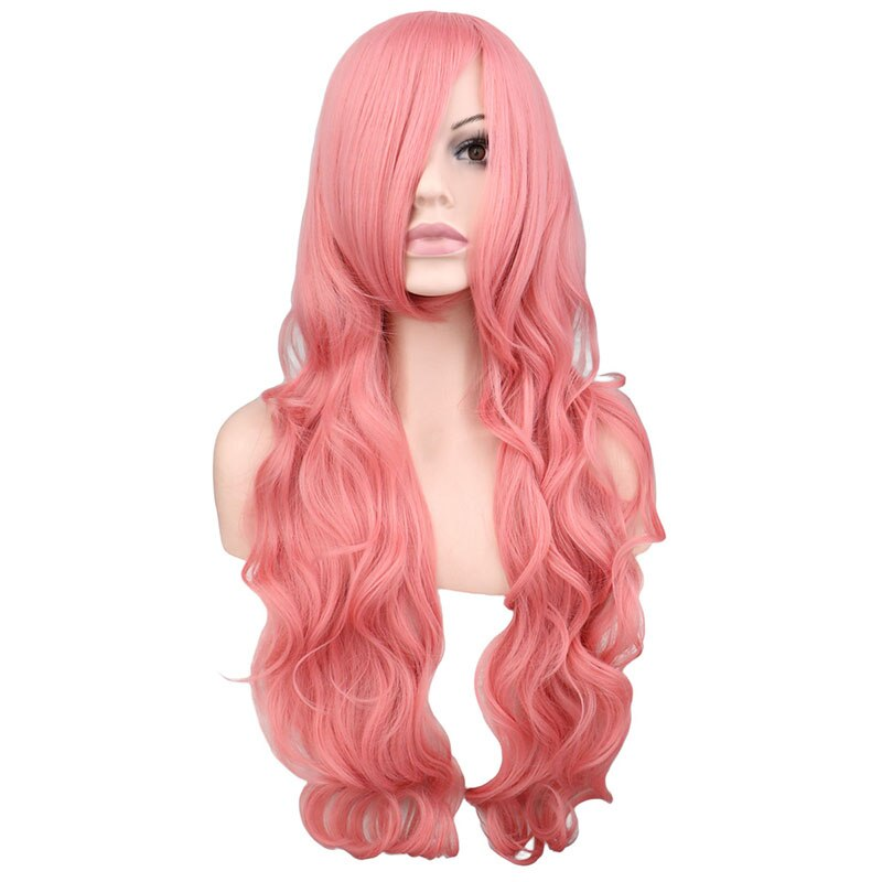 80 Cm Women Ladies Long Wavy Cosplay Pink Synthetic Hair Wigs