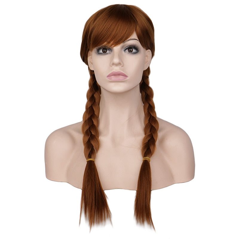 Women Long Braids Cosplay Elsa and Anna Wig Synthetic Hair Wigs