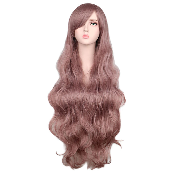 100cm Women Long Wavy Cosplay Wig Brown Synthetic Hair Wigs Long Curly Wig