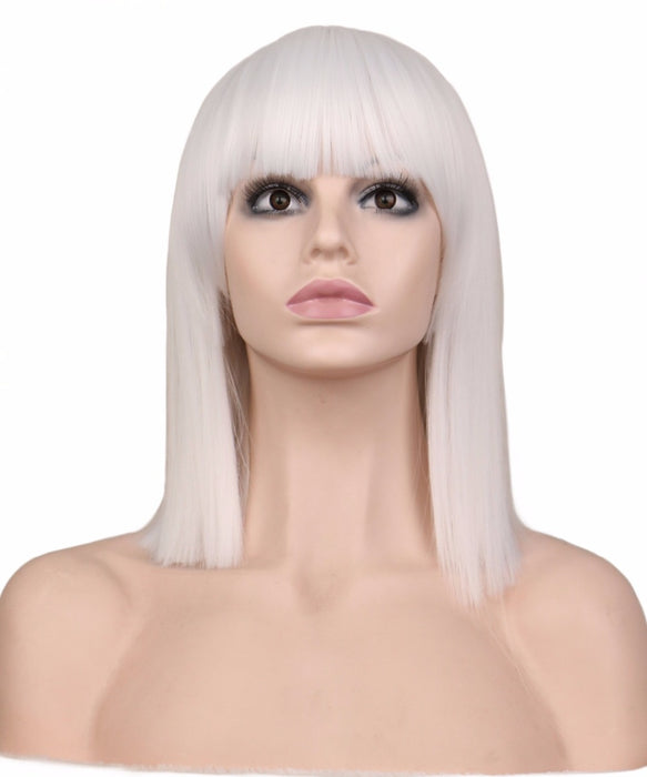40 Cm Women Medium Straight Bob Style Wig For Cosplay Costume Rose Pink Synthetic Hair Wigs