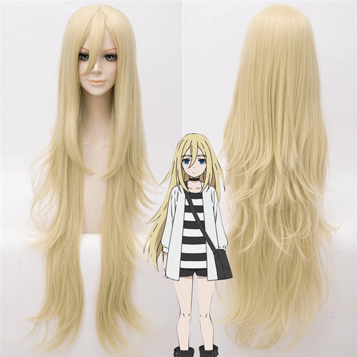 90 CM Rachel Gardner Angels of Death Cosplay Long Wig Ray Gold Synthetic Anime Angels of Death Ray Women Hair+wig cap