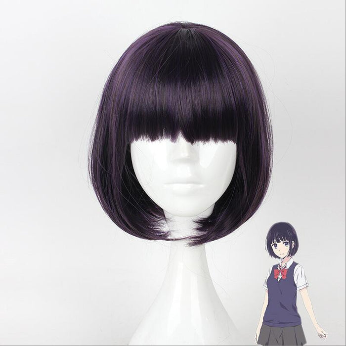 Scum's Wish Kuzu no Honkai Wig Yasuraoka Hanabi Short Straight Wig Dark Purple