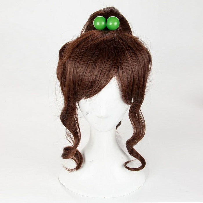 Kino Makoto Sailor Moon Soldier Sailor Jupiter Women Cosplay Medium Curly Wig Brown Synthetic Hair Without Hair Accessory