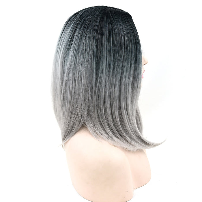 Synthetic Hair Ombre Grey Hair Bob Style Medium Straight Wig Women Party Cosplay 10 Colors