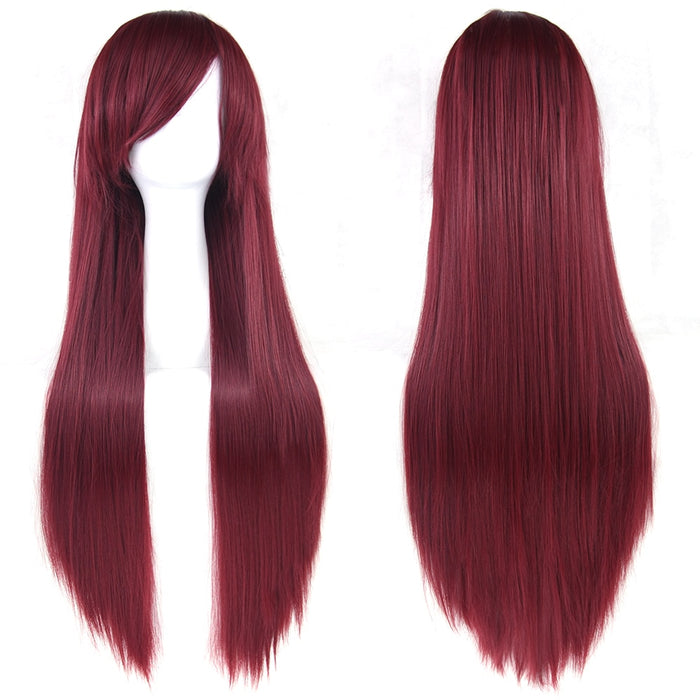80cm Long Straight Wig Women Hairpiece Synthetic Hair 24 Colors