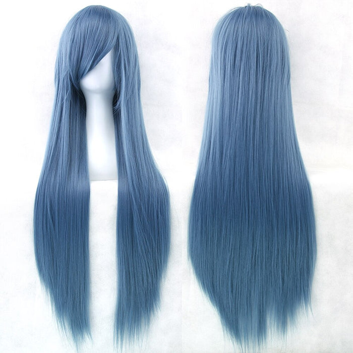 80cm Long Straight Wig Women Synthetic Hair 24 Colors